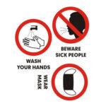PVC Publicity Sticker Hand Wash Wear Mask Sign Windows Door Warning Decals