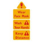 Hand Washing Mask Publicity Wall Sticker Virus Prevention Warning Decals