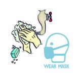 PVC Publicity Wall Sticker Cartoon Hand Washing Mask Sign Warning Decals