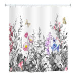 Butterfly Flowers Printed Shower Curtain Waterproof Bathing Bathtub Cover