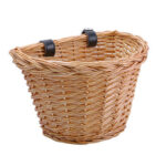 Children Bicycle Basket Handle Bar Wicker Woven Carrier Cycling Bags (L)