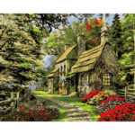 Hand Painted Artwork Frameless DIY Village House Painting By Numbers Craft