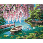 Hand Painted Artwork Frameless DIY Quiet Lake Painting By Numbers Kit Craft