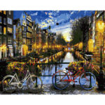 Hand Painted Artwork Frameless DIY Night River Painting By Numbers Decor