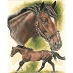 Hand Painted Artwork Frameless DIY Running Horse Painting By Numbers Craft