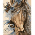 DIY Digital Oil Painting By Numbers Kits Horse Head Acrylic Color Drawing