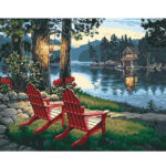 Hand Painted Picture Frameless DIY Relax Lake Painting By Numbers Art Craft