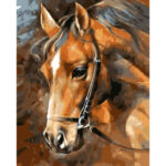 Hand Painted Craft Frameless DIY Sad Horse Painting By Numbers Kit Picture