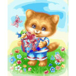 DIY Digital Oil Painting By Numbers Kits Cartoon Cat in Gift Wall Art Decor