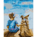 DIY Digital Oil Painting By Numbers Kits Boy and Dog Modern Acrylic Picture