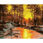 DIY Digital Oil Painting By Numbers Kits Woods Sunset Landscape Art Picture