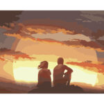 DIY Digital Oil Painting By Numbers Kits Couples in Sunset Modern Wall Art