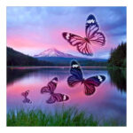 5D DIY Full Round Drill Diamond Painting Butterfly Lake Embroidery Craft
