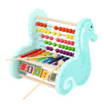 Wooden Baby Octave Piano Frame Kids Puzzle Beaded Musical Toy (Seahorse)