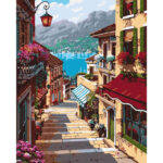 Street House DIY Painting By Numbers Kit Canvas Wall Art Painted Home Decor