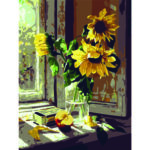 Sunflower DIY Painting By Numbers Kit Canvas Oil Wall Picture Home Decor