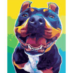 Oil Painting By Numbers Kit Frameless DIY Dog Hand Painted Artwork Canvas
