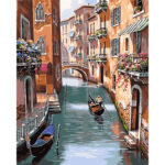 Painting By Number Kit Frameless DIY River Boat Hand Painted Artwork Canvas