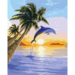 Painting By Numbers Kit Frameless DIY Dolphin Hand Painted Artwork Canvas