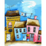 Cartoon Houses Oil Painting By Numbers Kits Drawing Handpainted Pictures