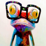 DIY Digital Oil Painting By Numbers Kits Glasses Frog Color Drawing Picture