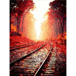 DIY Digital Oil Painting By Numbers Kits Maple Leaf Rail Art Picture Decor
