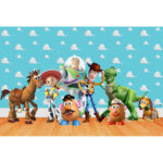 0.9×1.5m Wall Background Cloth Cartoon People Animal Kids Party Decor Props
