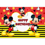 0.9×1.5m Cartoon Mouse Background Kids Happy Birthday Backdrop Party Decor