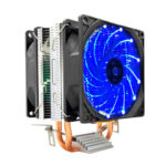 CPU Dual Cooling Fan 2 Heat Pipes Desktop Radiator for Intel AMD (Blue)