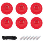 6pcs Stainless Steel Raft Canoe Kayak D Ring Patch with Glue Rope (Red)