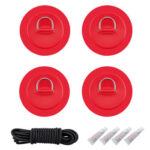 4pcs Stainless Steel Raft Canoe Kayak D Ring Patch with Glue Rope (Red)