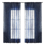 Navy Blue Window Tulle Screening Triangle Pattern Voile Curtains (1.4×2.6m)