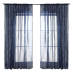 Navy Blue Fireworks Window Tulle Screening Sheer Decor Curtains (1.4×2.6m)