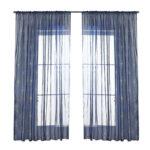 Navy Blue Fireworks Window Screening Voile Bronzing Curtain (1.4×2.6m)