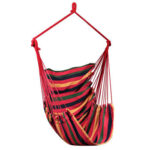 Outdoor Camping Hanging Hammock Chair Swing Seat (Red Striped w/o Pillow)