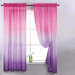 Gradient Window Tulle Curtains for Living Room Sheer Drapes (Rose Purple)