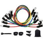 12pcs/set Elastic TPE Resistance Bands Multi Functional Fitness Equipment