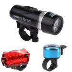 3pcs Bicycle Plastic Front Headlight Taillight Bike Flashlight Set (Blue)