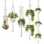 5pcs Handmade Macrame Rope Plant Hanger Flowerpot Hanging Basket Wall Decor
