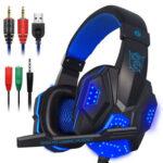 Desktop Laptop Gaming Headphone 3.5mm Wired Line Control Earphone (Blue)
