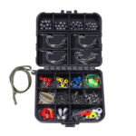 187pcs Carp Fishing Tackle Box Jig Hook Swivel Bead Fishing Accessories Kit