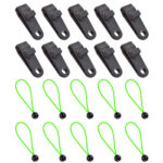 Windproof Outdoor Camping Tent Tarp Fixing Clamp with Elastic Rope (10pcs)