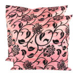 Pair of 17 x 17inch Taffeta Fabric Cushion Cover Pillow Case Square Pink