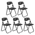 5pcs Office Conference Plastic Folding Chair Black-37606678