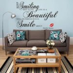 Removable PVC Bedroom Wall Posters Sticker English Proverb Smile Decor