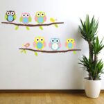 Owls on branch Pattern PVC Removable Kids Room Vinyl Decal DIY Wall Sticker