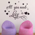 All you Need is love Letter PVC Removable Room Vinyl Black DIY Wall Sticker