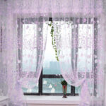 Floral Printed Tulle Voile Window Curtain Sheer Drape 200x100CM Purple