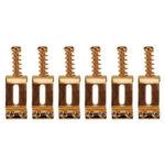 6pcs Roller Bridge Tremolo Saddles for Strat Tele Electric Guitar (Gold)