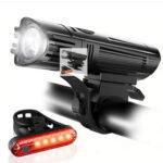 2pcs USB Rechargeable LED MTB Bike Headlight Taillight Bicycle Flashlight